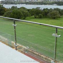 Terrace Tempered Clear Glass Panel Stainless Steel Pipe Railing Systems