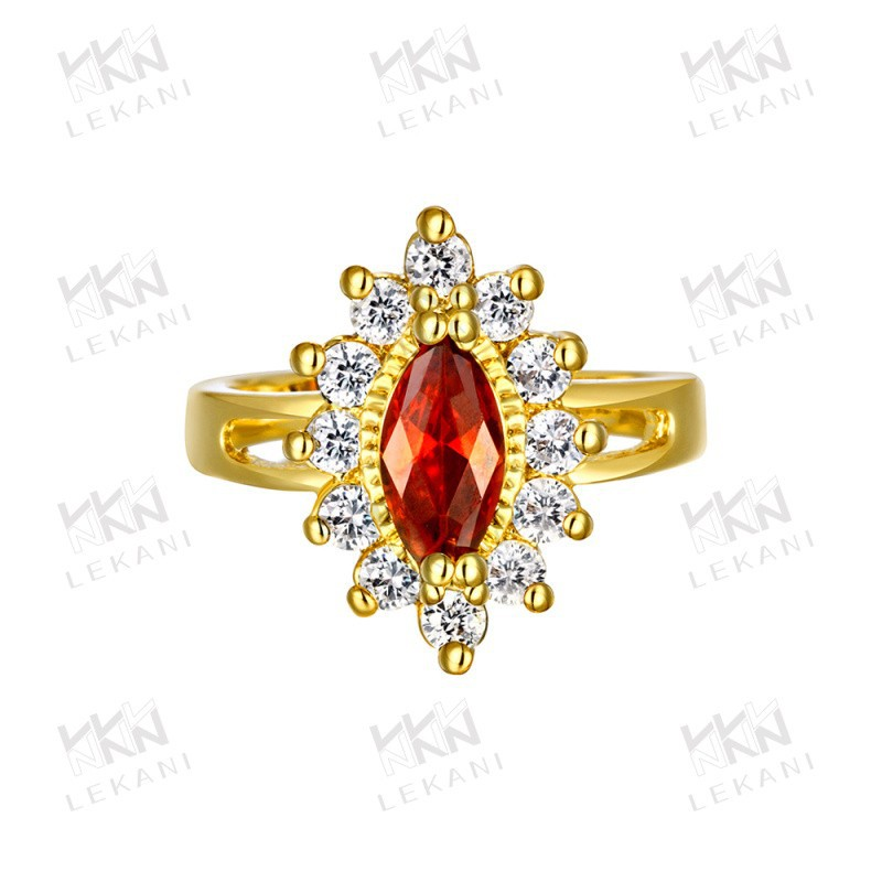Wholesale Fashion Jewelry Thailand Ring Red Stone Ring KZCR113 18kgp Jewelry Gold Ring