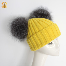 Fashionable knitted beanie winter pom pom cute fur hat for girls