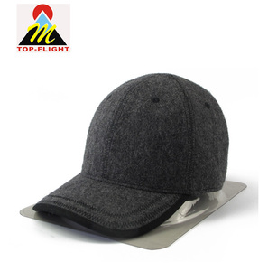 6 Panel Custom Baseball Cap Dark Grey 100% Wool Felt Cap
