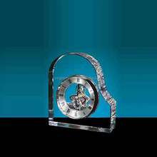 Hot Sale Crystal Heart Clocks with Skeleton Movement Visible for Wedding Favor