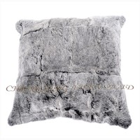 CX-D-44 Snow Top Genuine Rex Rabbit Fur Cushion Cover