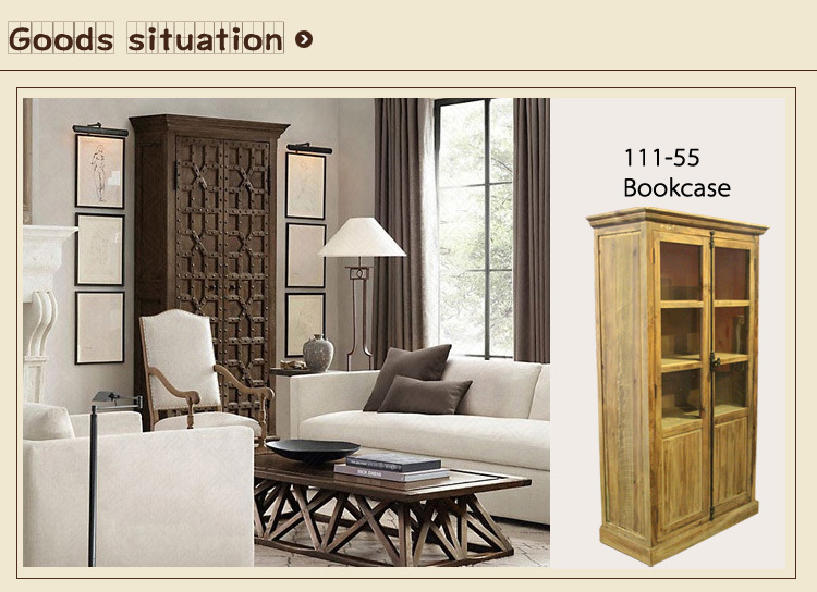 European style furniture Reclaimed Elm 2 Door Tall Cabinet bookcase