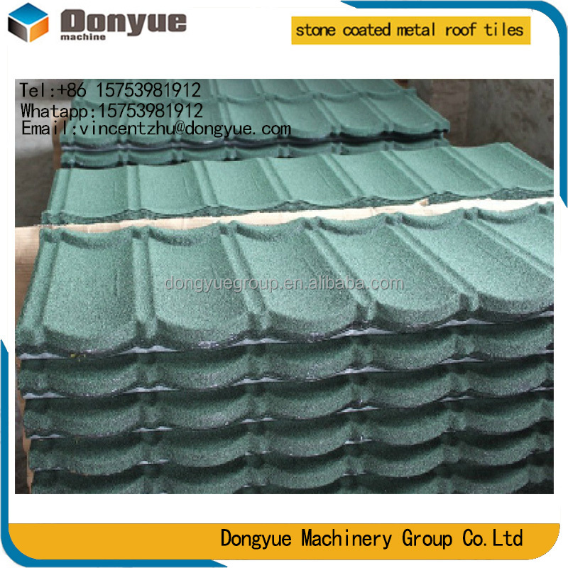 High quality stone sand coated metal roofing sheet / colorful stone chip metal roof tile