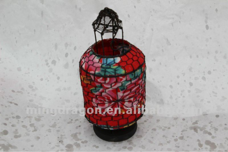 Chinese antique iron& paper red flower small round lantern lamp