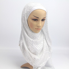 SF17227014 New Design Wrinkled Scarf islamic muslim hijabs tassel shawls shiny Shimmer glitter Scarves wrap