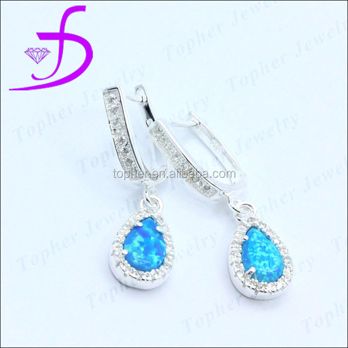 925 sterling silver english hook synthetic opal earring