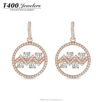T400 jewelry fashionable rose gold plating 925 sterling silver earrings with AAA zircon