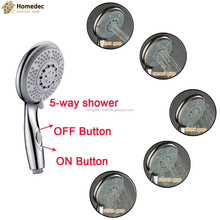 Luxury Multi Function ABS Chrome 5-Function Massaging Hand Held Shower Head For Bathroom