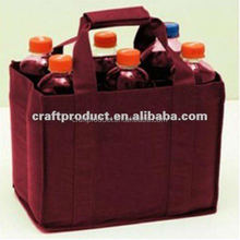 Non woven 6 pack bottle wine tote bag
