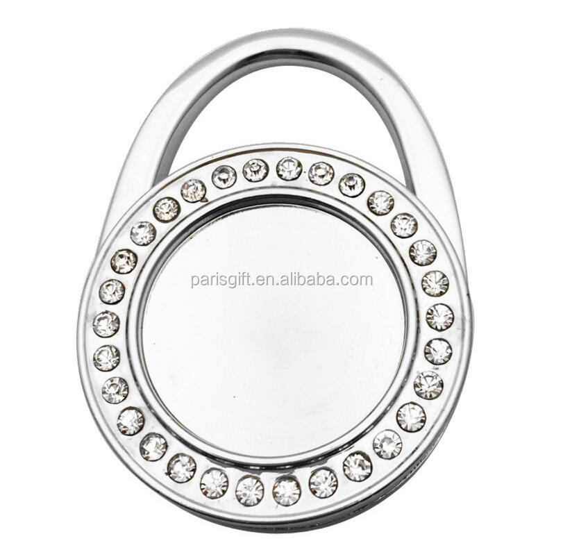 Blank handbag hanger Oval Shaped Table Hook Decorative Handbag Purse Hanger with rhinestone