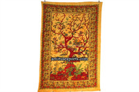 Yellow Beautiful Tree of life Indian Wall Decor Hanging Art Tapestries Hippie Hippy Tapestry Manufacturer In India Jaipur