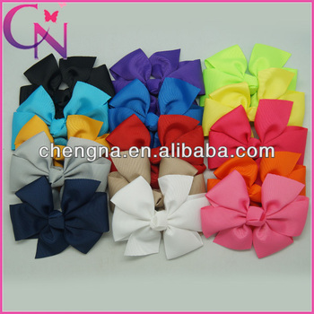 solid ribbon gils hair bow with clips wholesale CNHBW-1310221