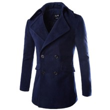 walson turn down collar 3 colors black,navy red 4 size M/L/XL/XXL for choice mature men coat woolen