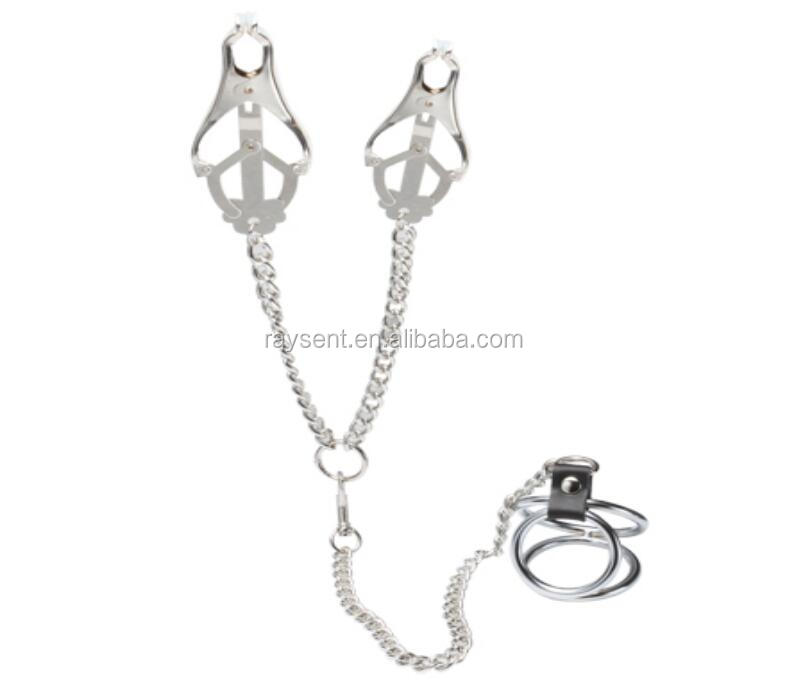 2017 hot selling Nipple Clamp With Silver Chain Breast Clip and vagina Clip Adult Products Breast Massager Flirt Sex Toys Couple
