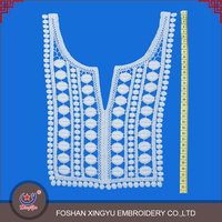 OEM Custom shaped cotton crochet lace pattern embroidered applique neck patch for ladies dress or garment