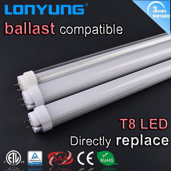ETL TUV SAA CE RoHS list Electronic magnetic ballast compatible t8 led tube 66 plug & play t8 led tube 5ft 22W 150mm