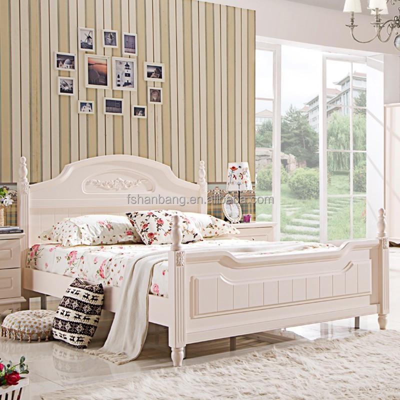 Moderne witte pastorale stijl houten bedden en slaapkamer meubilair dubbel bed twin bed - Modern meubilair en oude ...