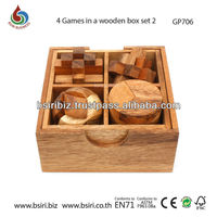 3d puzzles 4 games in a wooden box
