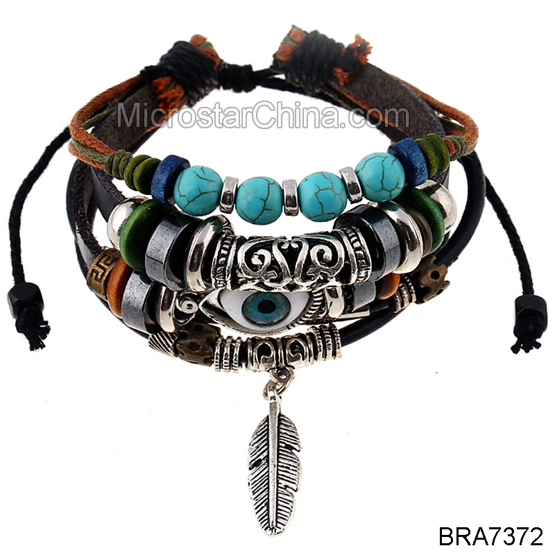 Fengrise Top Selling Men's Features Eye Beads Multi-layer Leather Alloy Feather Pendant Bracelet