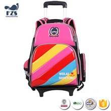 SLZ72 Latest Removable Candy color kids trolley school bag with 2 two wheels