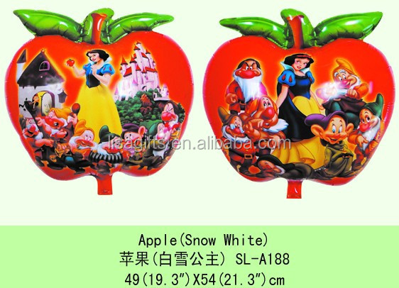wholesale Snowwhite printed apple shaped helium balloons