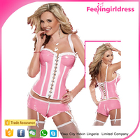 Wholesale Pink Two Piece Faux Leather Bustier Sexy Busty Corset Lingerie