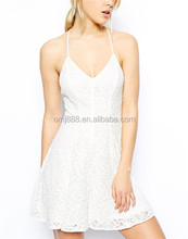 Lace Pattern Short Girls Wear White Party Dresses