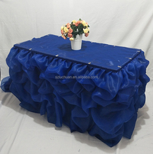 Royal Blue Organza Material Table Skirting for Wedding