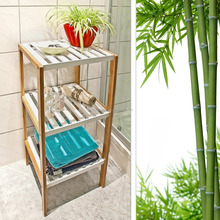 Three-Tier Bamboo Storage Unit Shelf/Rack,white