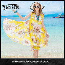 Chiffon floral women beach dress sleeveless midi Thailand dresses casual lady skirt