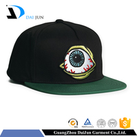 China factory 100%cotton 3d embroidery black colour and green colour flat brim high quality cusotm custom hat embroidery