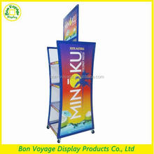 Supermarket double sided durable metal vitamin bottle display stand with header