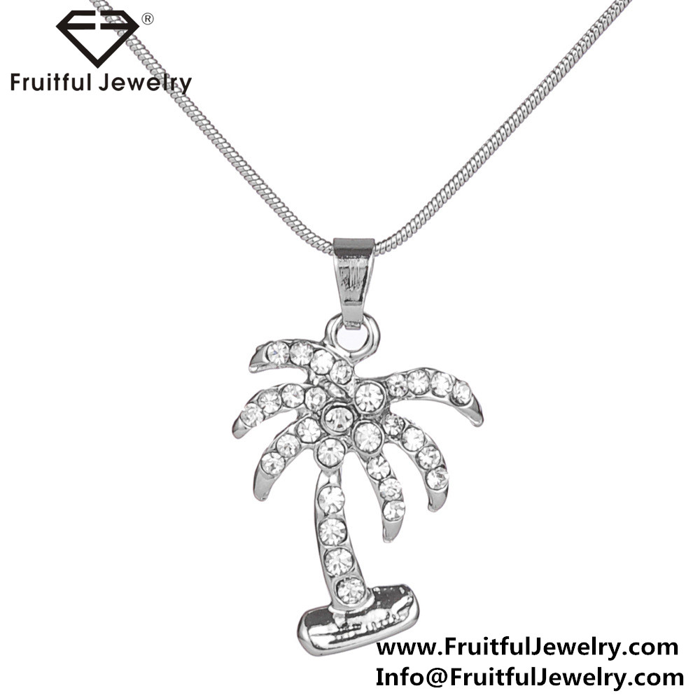 NKEL Diamond coconut tree pendants for necklaces cheap crystal, fashion jewellery