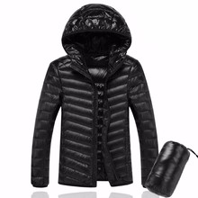 Plus Size OEM 90%White Duck Down Jacket Hooded Warm Coat Men's Feather Ultralight Outwear Coats With Bag Down Jacket