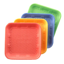 12.3*12.3*1.5cm Disposable foam tray for <strong>fruit</strong> or meat packing party snacks plate supermarket poultry frozen food trays
