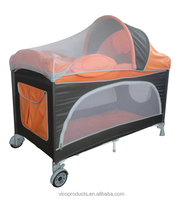 Square portalbe baby play yard bed with mosquito net