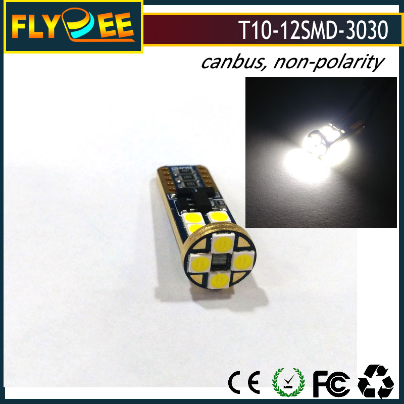 LED T10 canbus 12LED 3030 chip Car LED BULBs direct factory outlet sale non-polarity warranty 3years top quality