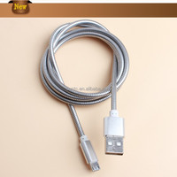 Stainless steel flexible spring USB charging cables ,usb data cable with reflexible
