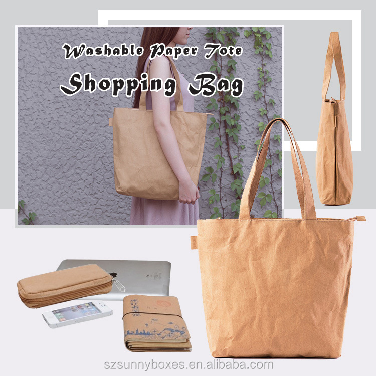 Top Quality Waterproof Recycle Kraft Paper Shoulder Strap Handbag With Zipper Closure