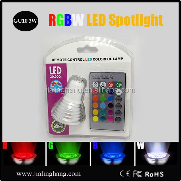 16 colors changeable dmx rgb mr16 led spotlight 3W RGBW wireless remote control spotlight led lamp