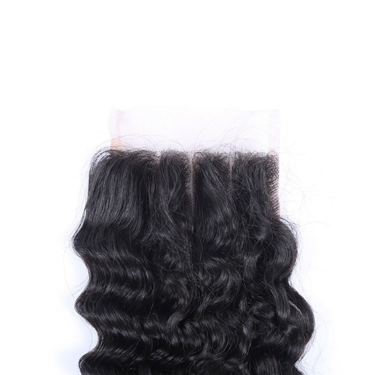 Indian Remy human hair closure Top sale bleached knots deep wave Lace Closure 4*4 with baby hair around