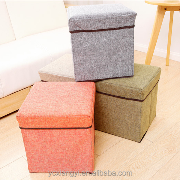 Canvas Fabric Square Folding Foot Stool Box, Lid Collapsible Storage Ottoman Box