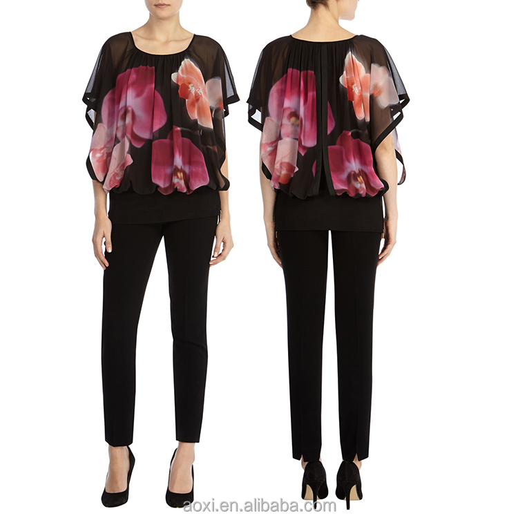 Wholesale clothing modern design floral print fashion ladies puffy sleeve blouse