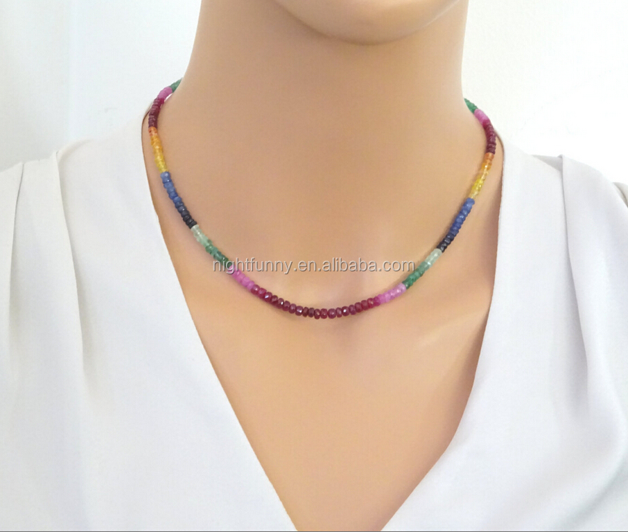 14k gold fill Chain Genuine precious gemstones Sapphire, Ruby & Emerald Delicate Bead Necklace