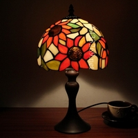 8 inch glass handmade table lamp with sunflower