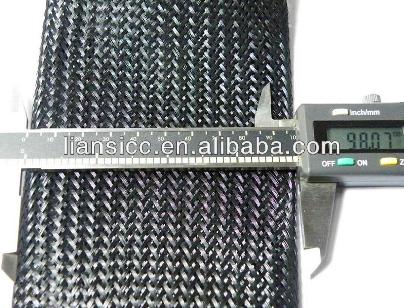 Black Cable Protection Polyester Monofilament Expandable Braided Sleeving and Tube