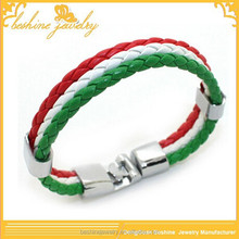 Braided Leather Country Italy Flag Bracelet Friendship