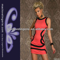 Elegant Orange SLeeveless Black Trims Disco Wear Bodycon Tank Dress Ball Party Wear