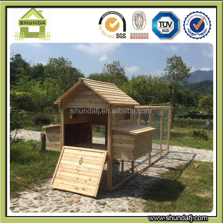 Large wooden chicken coop chicken house fan
